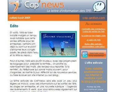 La lettre d'information des créateurs & TPE - CAP'NEWS - Juillet/Août 2009