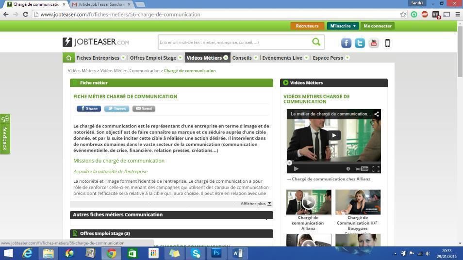 Vidéos de présentation des métiers, avec fiche descriptive.