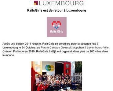 RailsGirls est de retour à Luxembourg le 24 octobre 2015 !